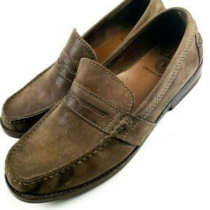 Clarks 61768 Nielsen Brown Leather Penny Loafers,